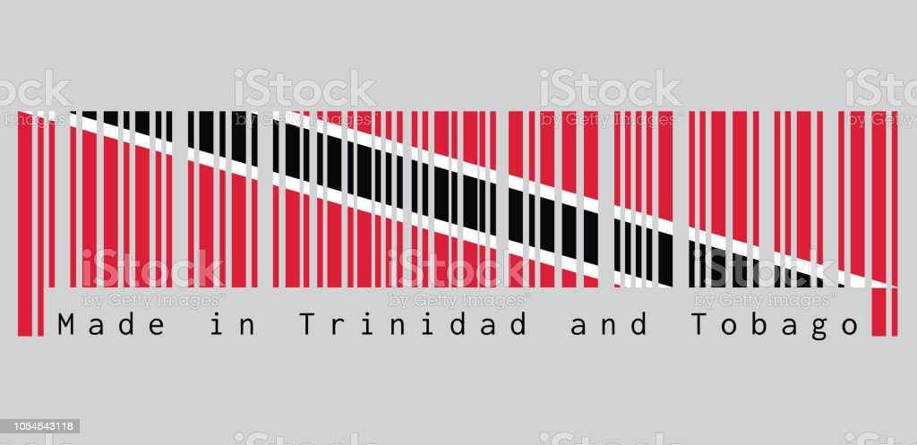 Barcode set the color of Trinidadian flag, A red field with a white-edged black diagonal band. text: Made in Trinidad and Tobago. vector art illustration