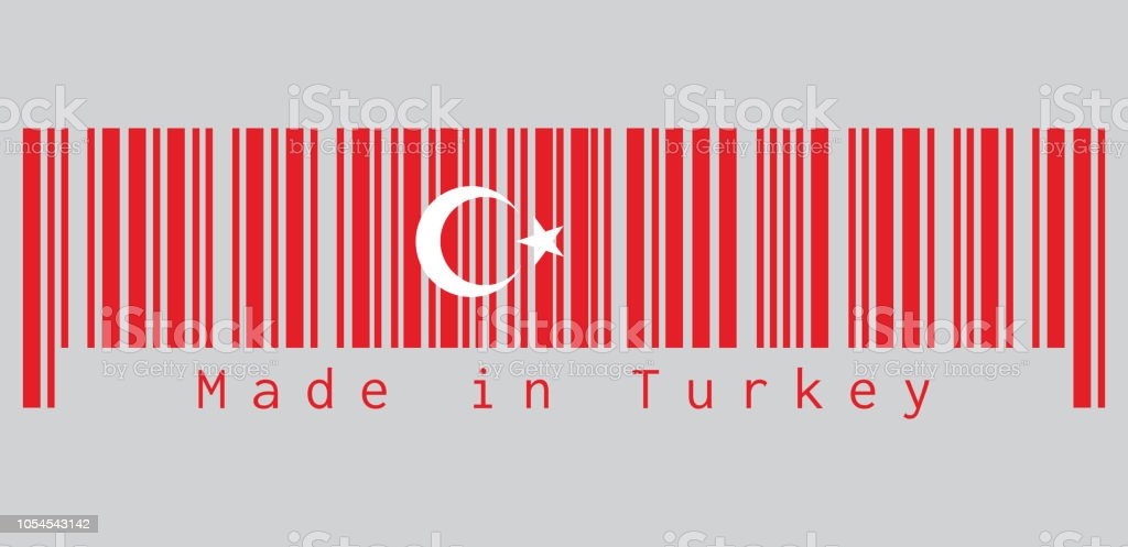 Barcode set the color of Turkey flag, a red field with a white star and crescent slightly left of center. text: Made in Turkey. vector art illustration