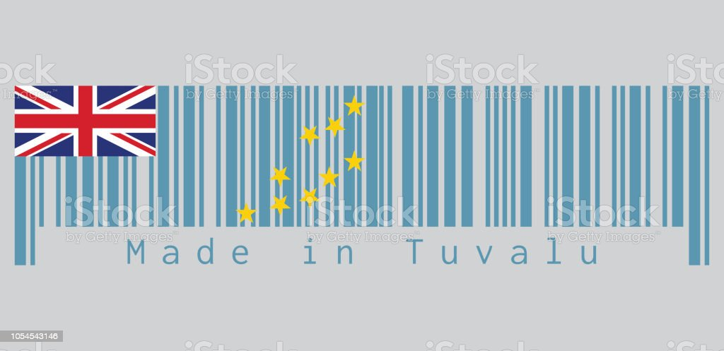 Barcode set the color of Tuvalu flag, a Light Blue Ensign with the Map of the Island of nine yellow stars. text: Made in Tuvalu. vector art illustration