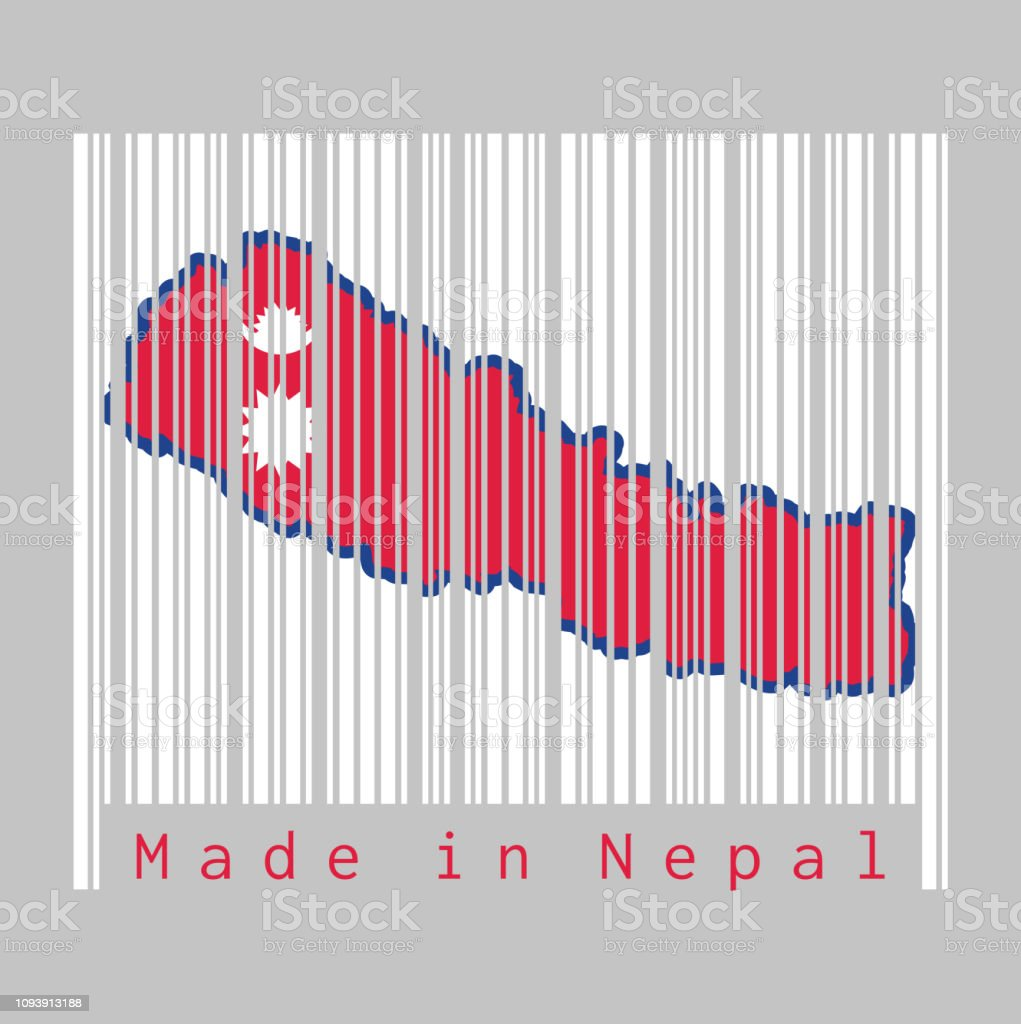 Barcode Set The Shape To Nepal Map Outline And The Color Of Nepal ...