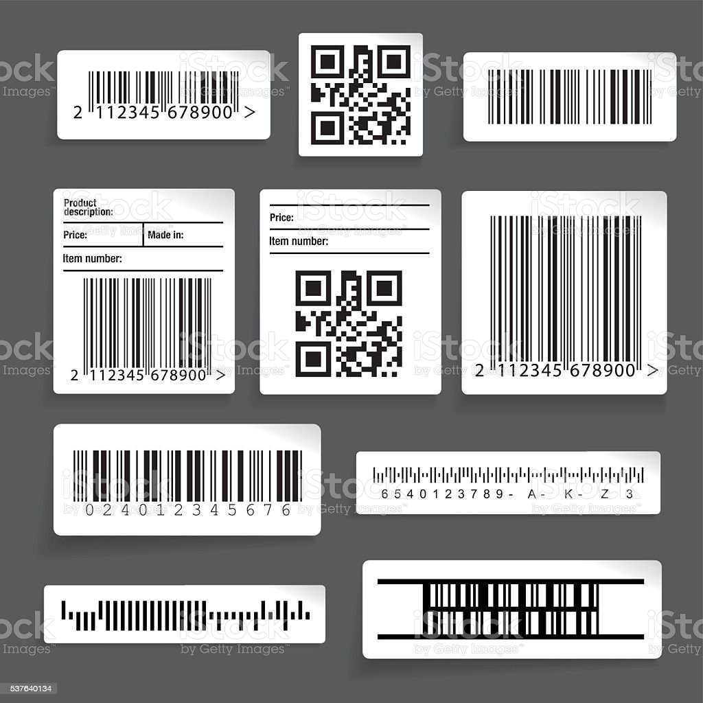 Barcode sticker set vector vector art illustration