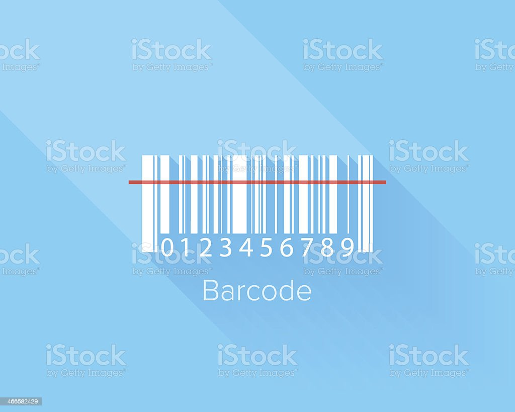 A barcode with a line going through vector art illustration
