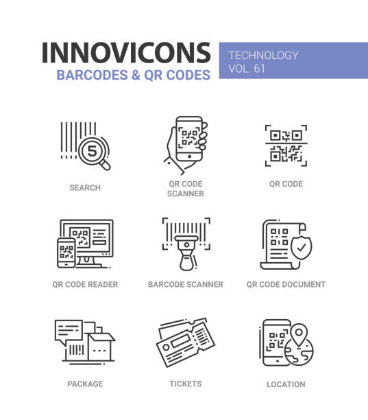 Barcodes and QR codes - line design icons set vector art illustration