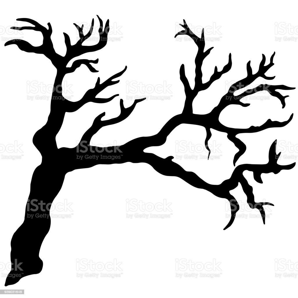Bare tree, snag, bough, drift wood, branch black silhouette vector art illustration