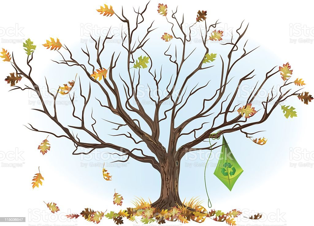 Bare Tree with Kite royalty-free stock vector art