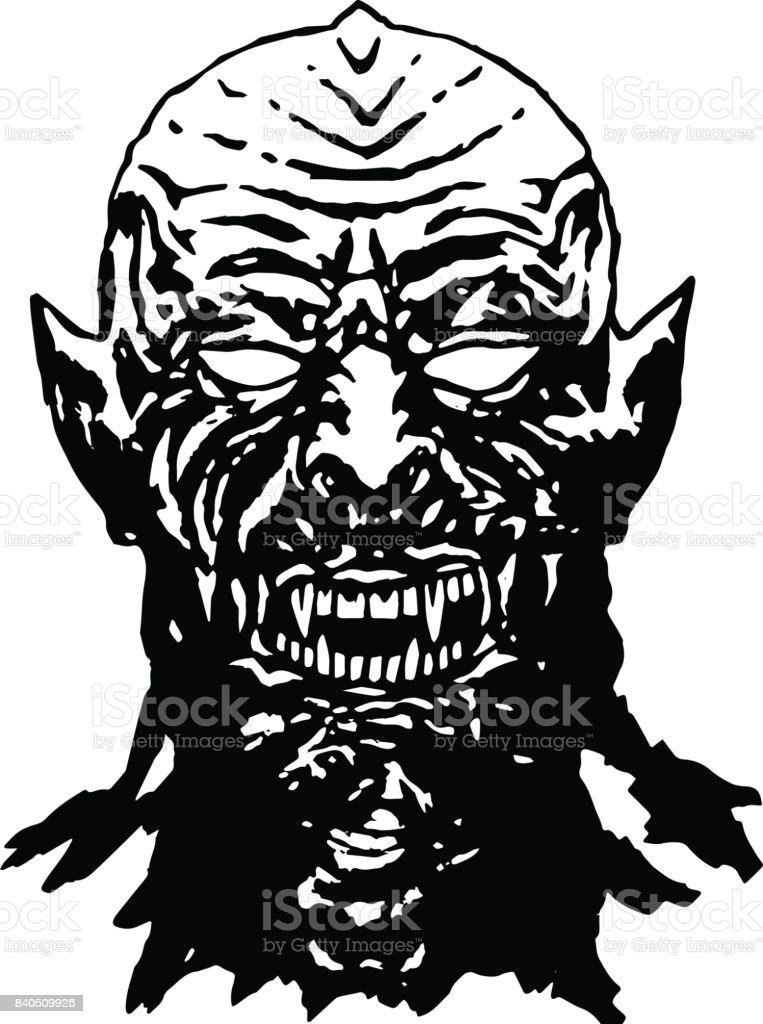 Bared teeth of hungry vampire. Vector illustration. vector art illustration