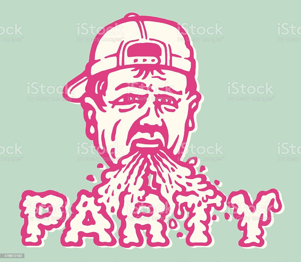 Barfing Party Dude vector art illustration