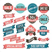 Bargain & sale banner & sticker icon set. Everything is grouped individually.