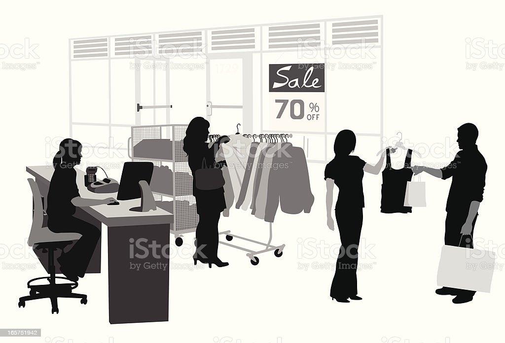 Bargain Store Vector Silhouette royalty-free stock vector art
