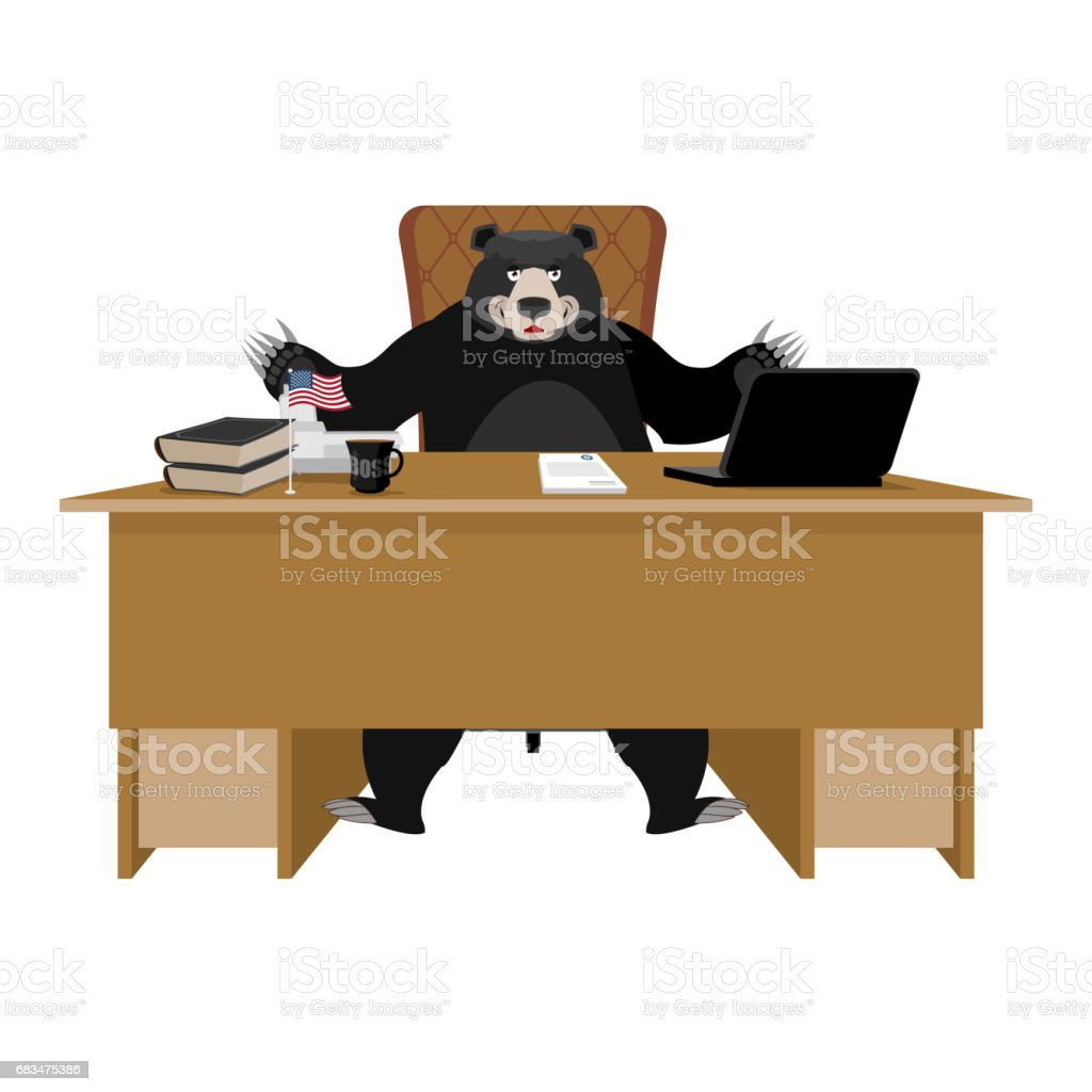 Baribal American Black Bear Sitting In Office. Grizzly Boss At Table. Beast  Businessman At
