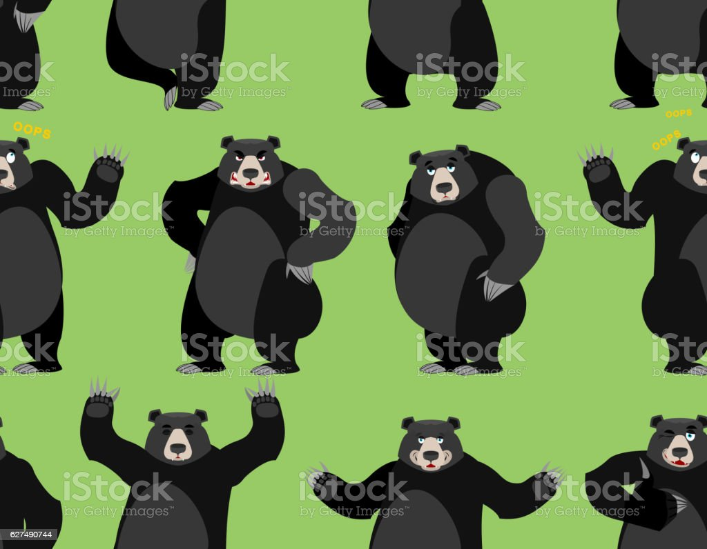 baribal seamless pattern. American black bear ornament. Set a wi vector art illustration