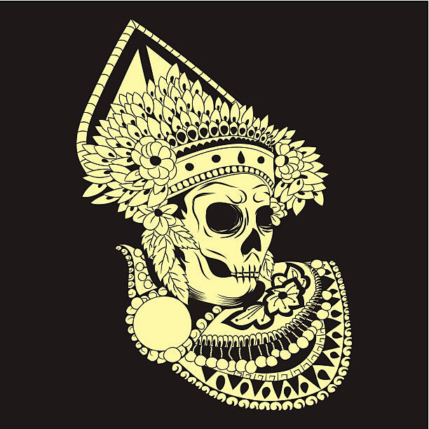 Baris Skull Balinese Dances vector art illustration