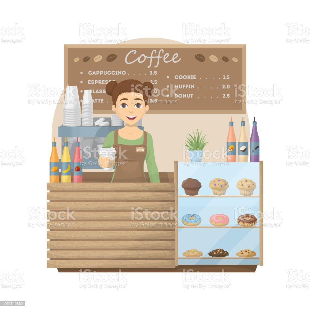 Barista en cafetería. - ilustración de arte vectorial