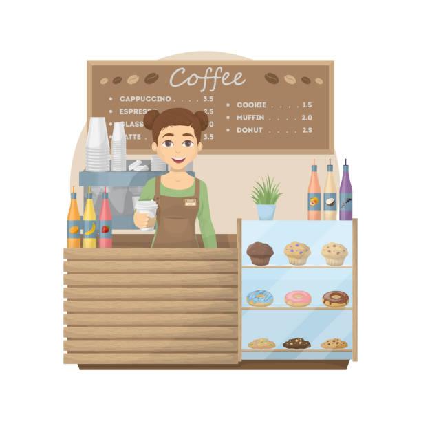 バリスタのコーヒー ショップで。 - バリスタ点のイラスト素材/クリップアート素材/マンガ素材/アイコン素材