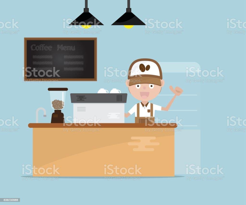 barista en mostrador en tienda de café - ilustración de arte vectorial