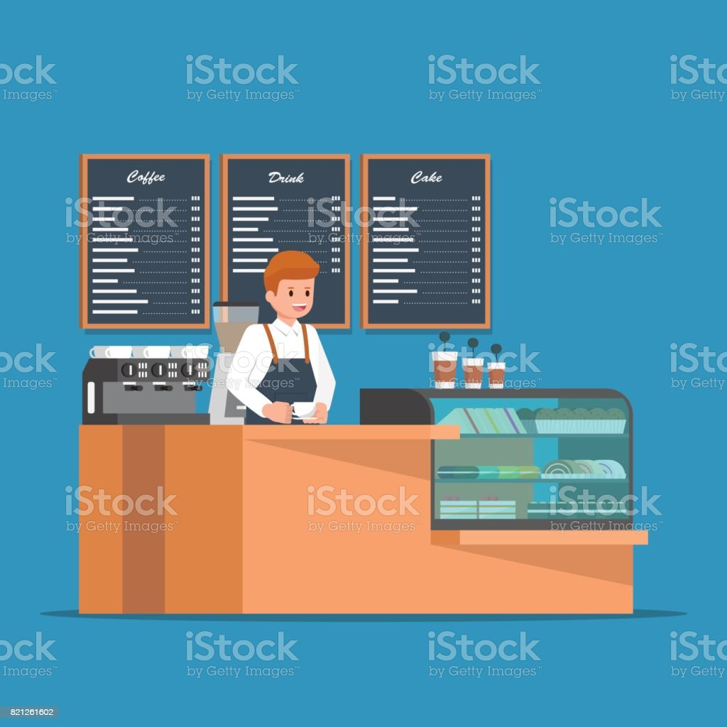 Barista behind counter bar of the coffee shop. vector art illustration