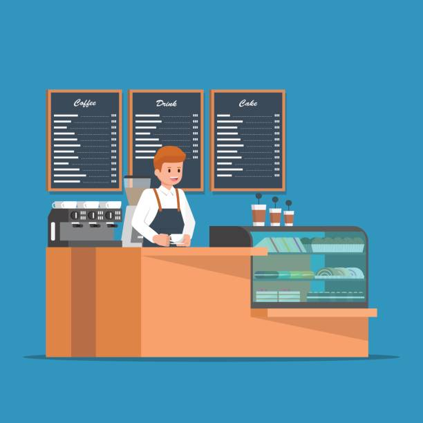 barista behind counter bar of the coffee shop. - barista stock illustrations, clip art, cartoons, & icons