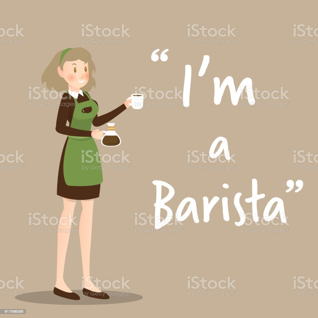 Barista character with coffee cup on brown background vector art illustration
