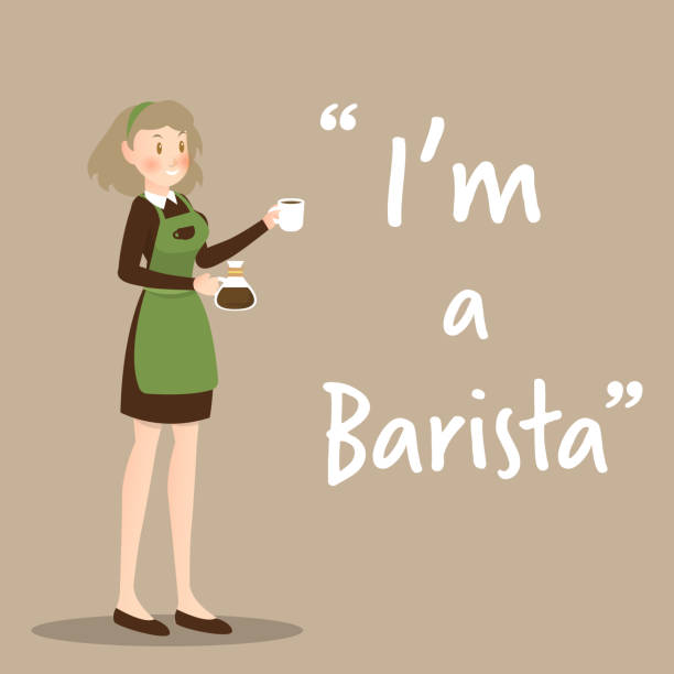 barista character with coffee cup on brown background - barista stock illustrations, clip art, cartoons, & icons