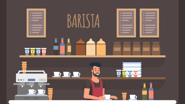 ilustraciones, imágenes clip art, dibujos animados e iconos de stock de interior de la tienda de café barista. propietario de pequeña empresa - barista
