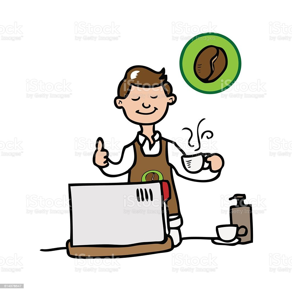 barista coffee shop stock vector art more images of adult rh istockphoto com Coffee Clip Art Black and White Coffee House Clip Art