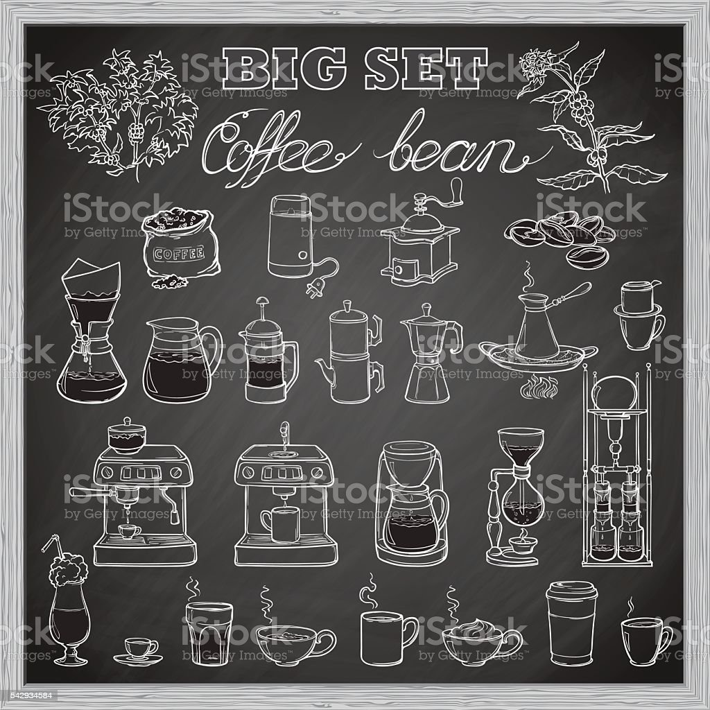 Barista coffee tools set. Sketch style. Blackboard background vector art illustration