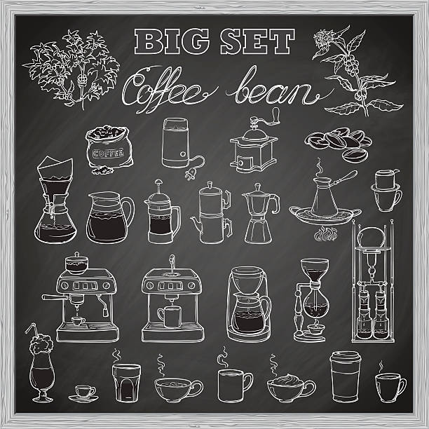barista coffee tools set. sketch style. blackboard background - barista stock illustrations, clip art, cartoons, & icons