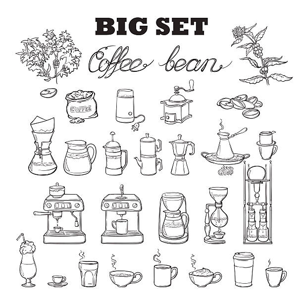 Barista coffee tools set. Sketch style. Isolated on white background. Barista tools set. Equipment for various ways of coffee brewing. Infographics icons. Doodle style pictures. Black sketch isolated on white background. EPS10 vector illustration. espresso stock illustrations