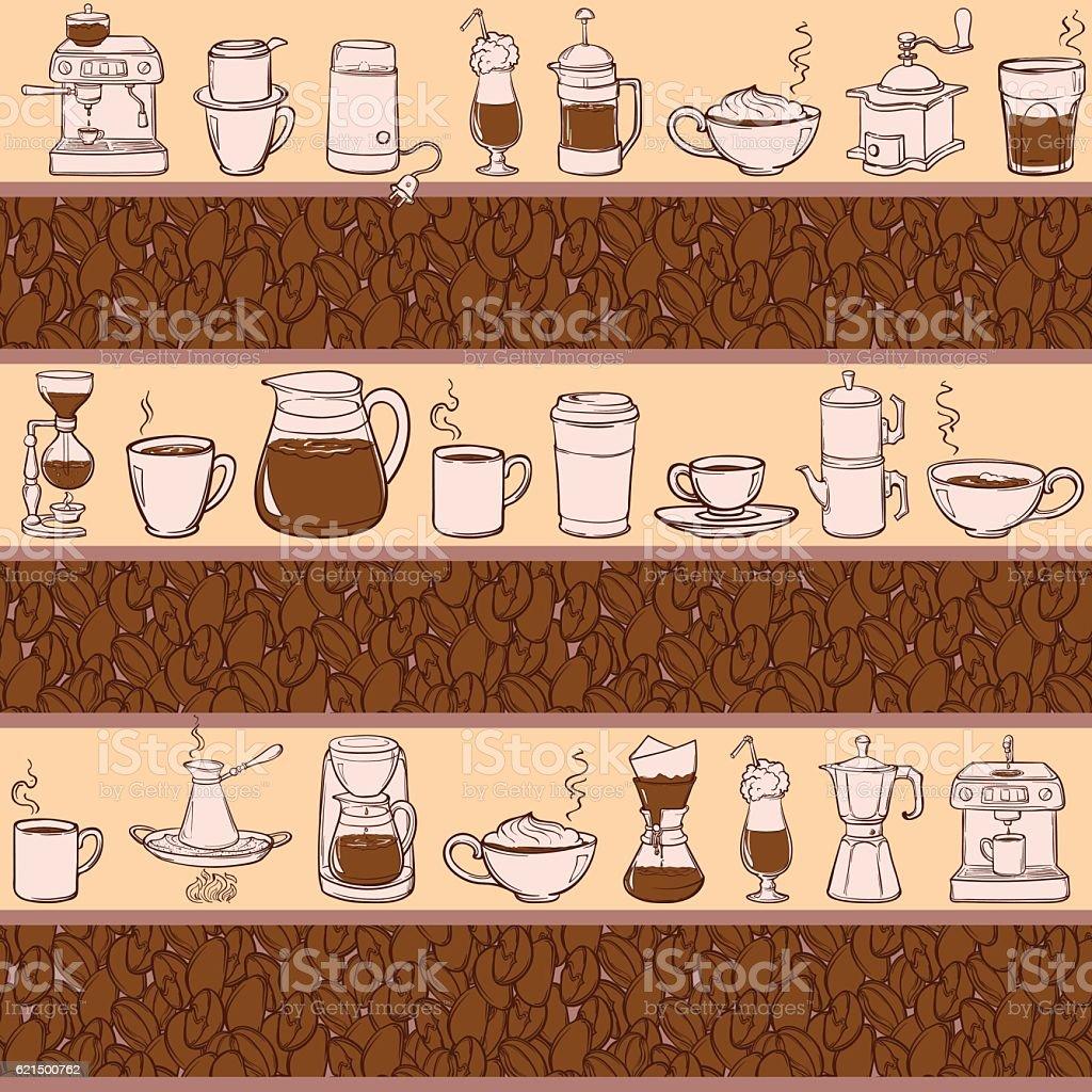 Barista coffee tools. Sketch style. Doodles. Pattern. barista coffee tools sketch style doodles pattern – cliparts vectoriels et plus d'images de carré - composition libre de droits