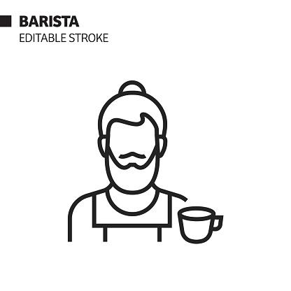 Barista Line Icon, Outline Vector Symbol Illustration. Pixel Perfect, Editable Stroke.