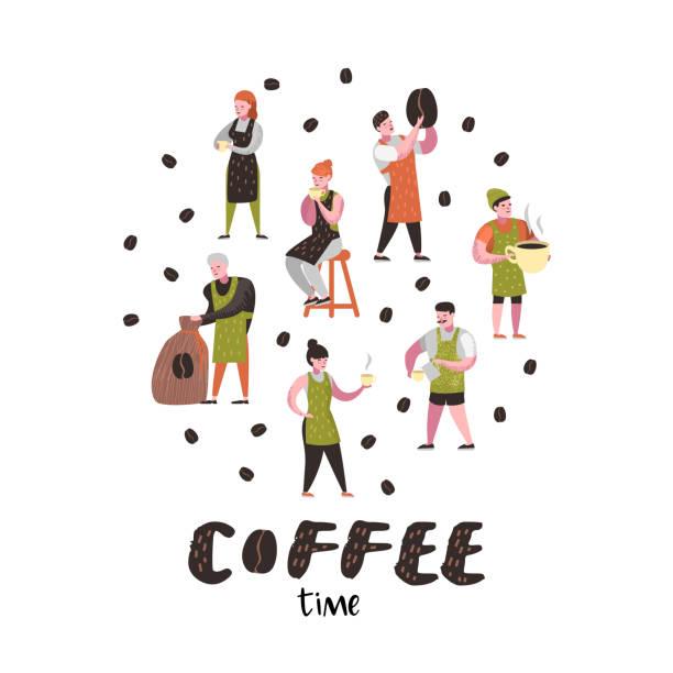 コーヒー ショップでフラット文字はバリスタ男と女。カップ、マグカップのコーヒー豆と漫画カフェ スタッフ。ベクトル図 - バリスタ点のイラスト素材/クリップアート素材/マンガ素材/アイコン素材