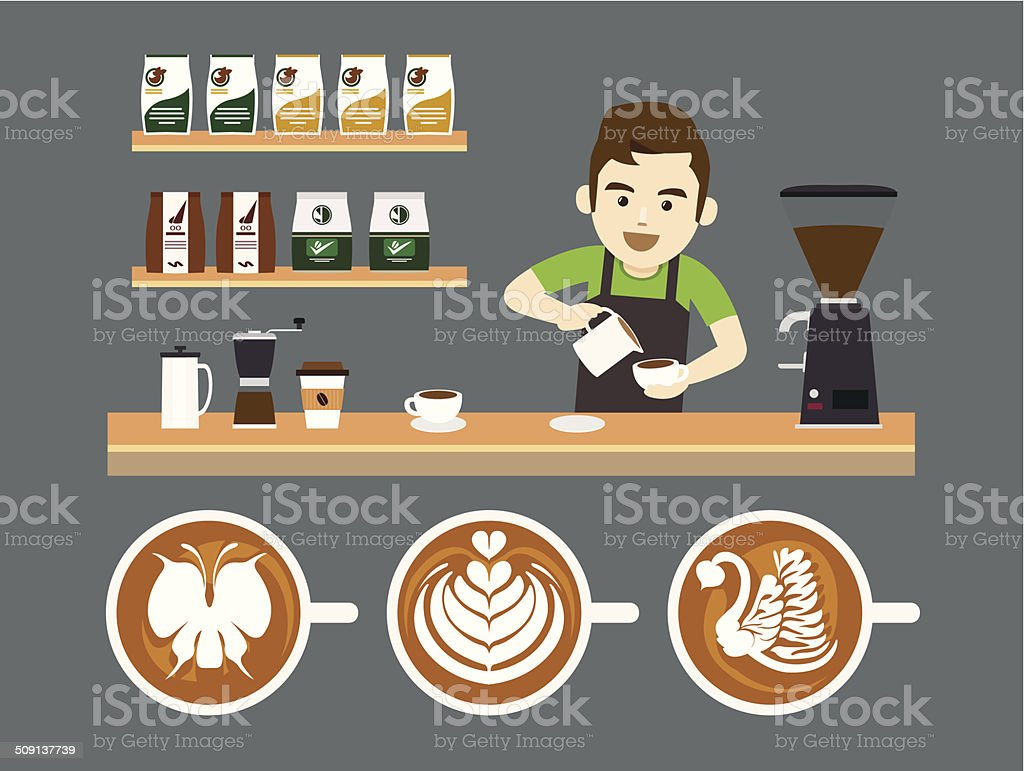 Barista Pouring Latte Art, Vector illustration vector art illustration