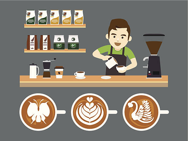 barista pouring latte art, vector illustration - barista stock illustrations, clip art, cartoons, & icons