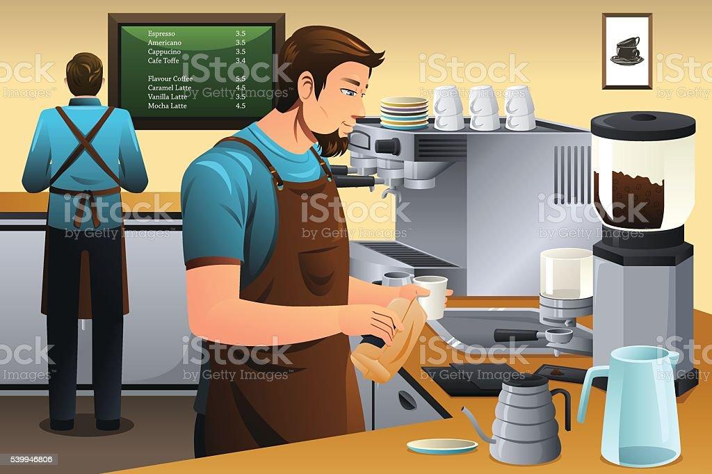 Barista preparar café de goteo - ilustración de arte vectorial