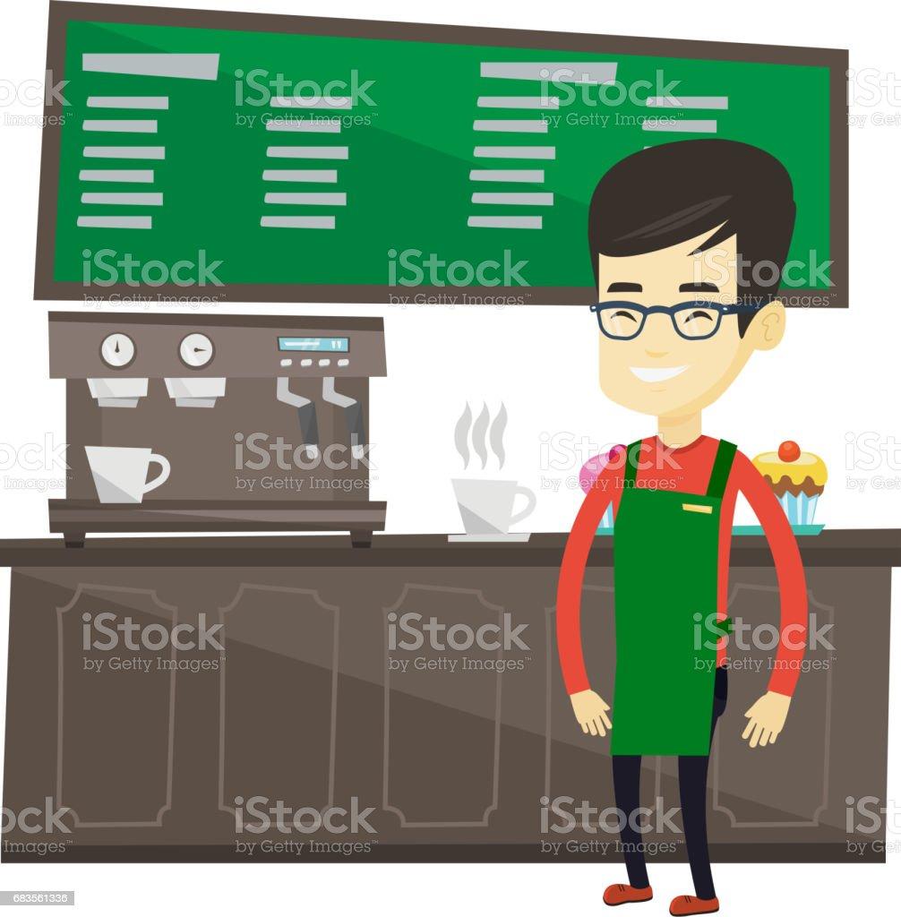 Barista standing near coffee machine vector art illustration