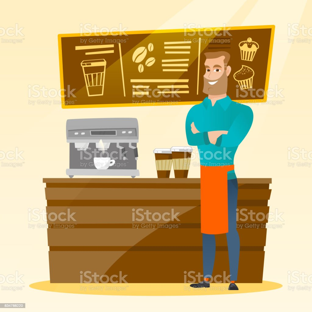 Barista standing near coffee machine vector art illustration