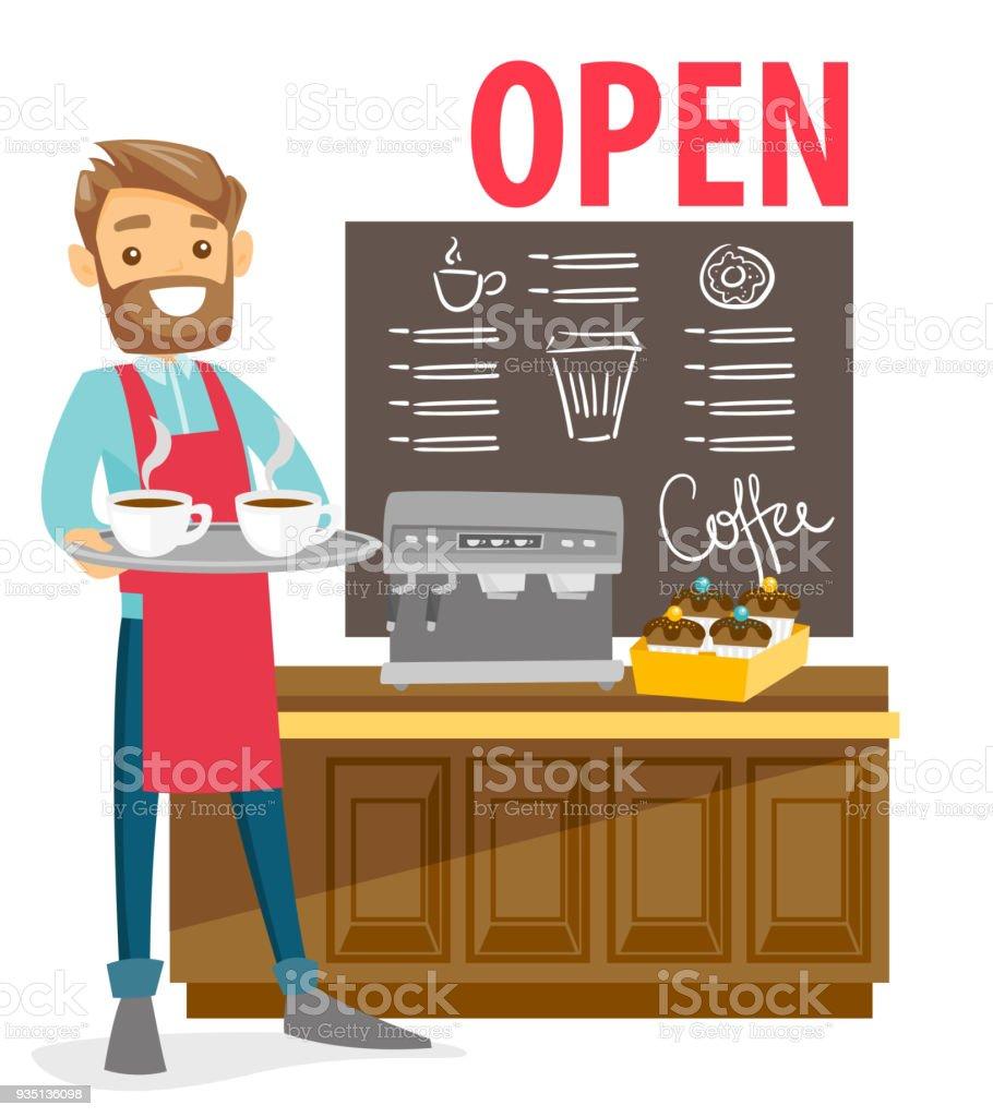 Barista de pie junto a la máquina de café - ilustración de arte vectorial