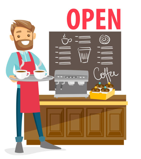 barista standing next to the coffee machine - small business owner stock illustrations