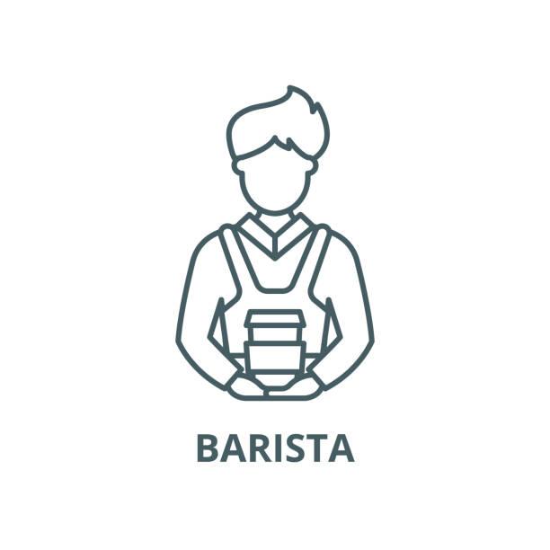 ilustraciones, imágenes clip art, dibujos animados e iconos de stock de icono de línea vectorial barista, concepto lineal, signo de contorno, símbolo - barista