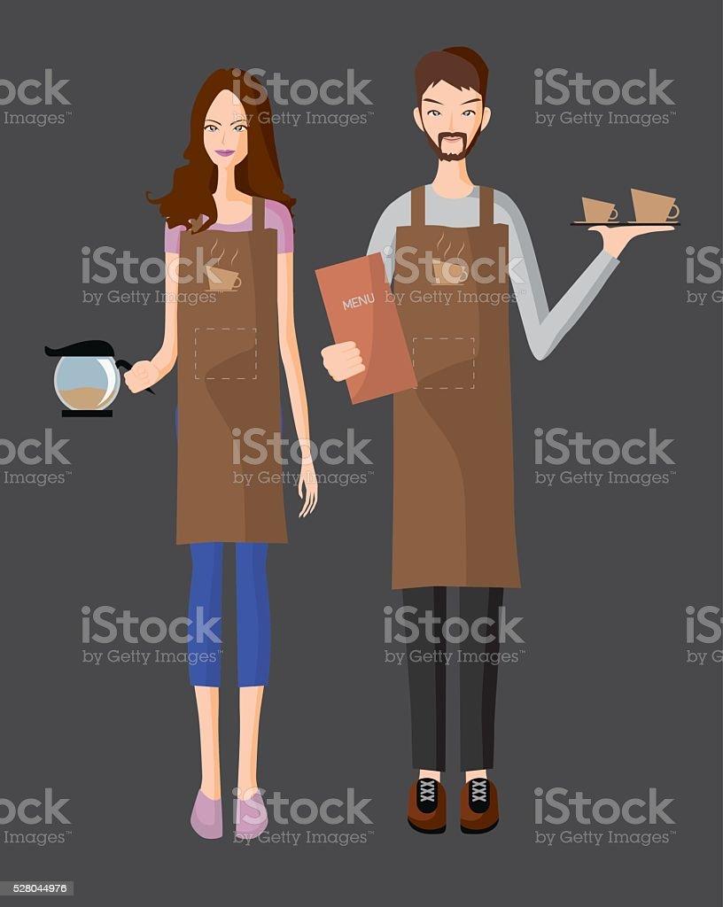 Baristas serve a coffee vector art illustration