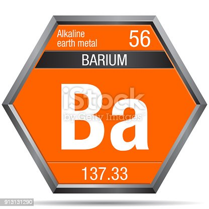 Barium Symbol In The Form Of A Hexagon With A Metallic Frame Element