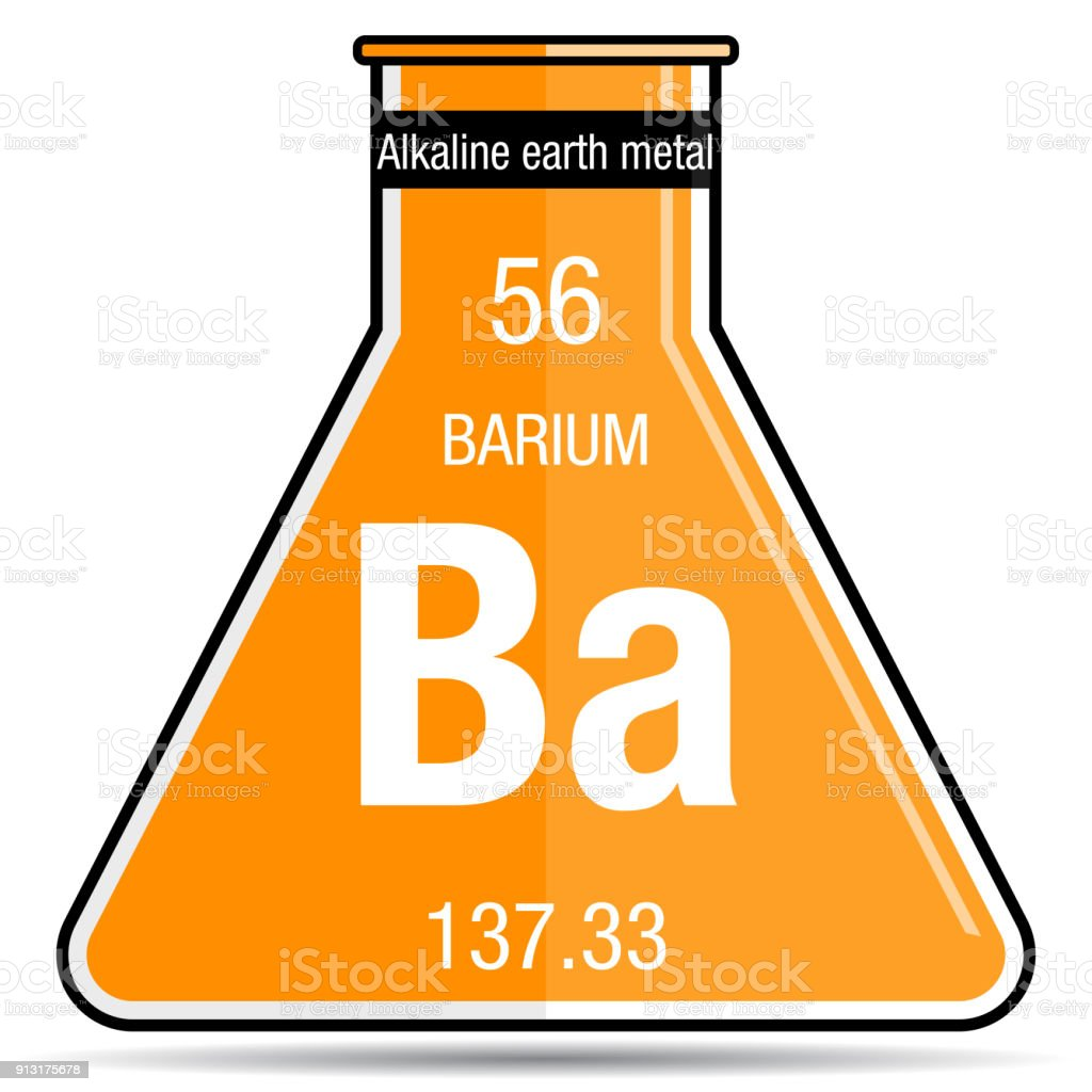 Barium Symbol On Chemical Flask Element Number 56 Of The Periodic