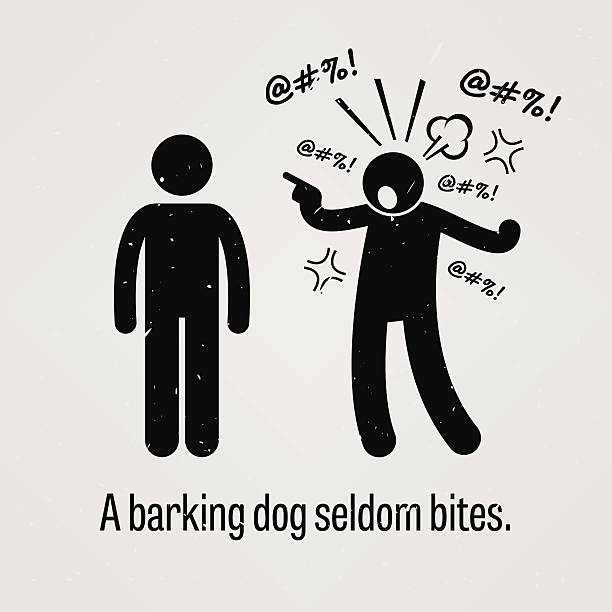 Barking Dog Seldom Bites A motivational and inspirational poster representing the proverb sayings, A Barking Dog Seldom Bites with simple human pictogram. displeased stock illustrations