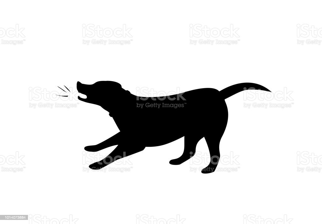 barking dog silhouette in black color vector graphic