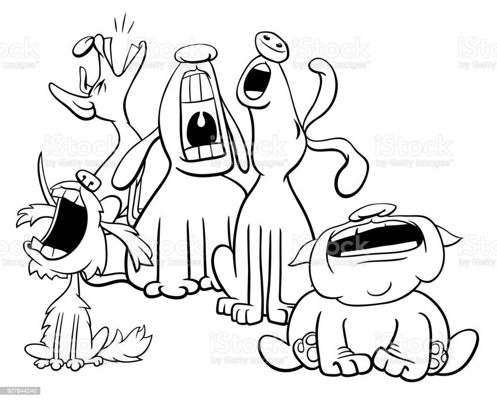 Ilustración de Ladrando O Aullando Caracteres De Perros Para ...