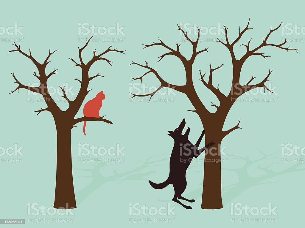 Barking Up The Wrong Tree Idiom vector art illustration
