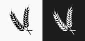 Barley Icon on Black and White Vector Backgrounds. This vector illustration includes two variations of the icon one in black on a light background on the left and another version in white on a dark background positioned on the right. The vector icon is simple yet elegant and can be used in a variety of ways including website or mobile application icon. This royalty free image is 100% vector based and all design elements can be scaled to any size.