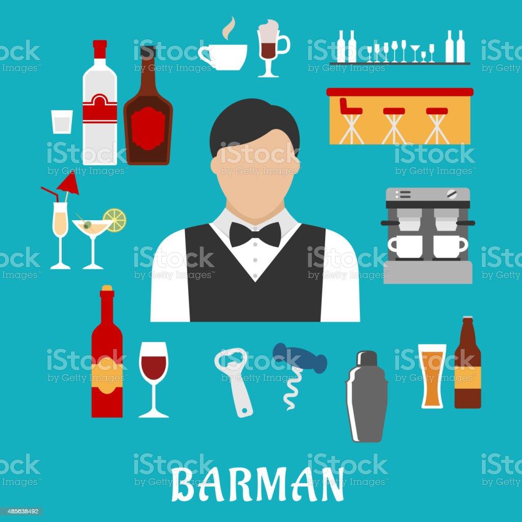 Barman and bartender flat icons vector art illustration