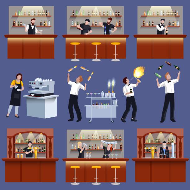 바만 바텐더 칵테일 준비 사람들 평면 - bartender stock illustrations