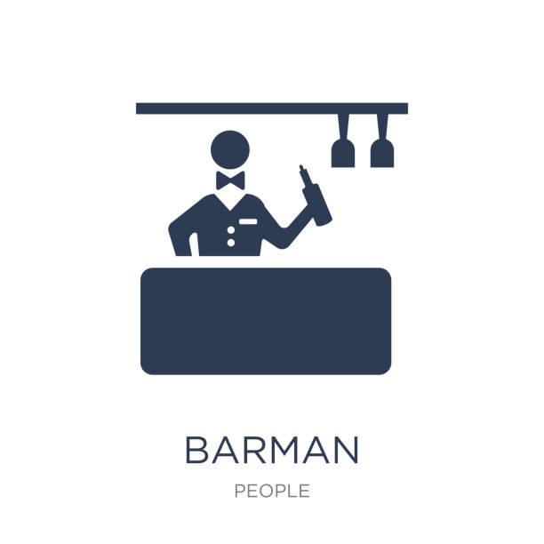 バーテンダーのアイコン。コレクション人から白い背景のトレンディなフラット ベクトル バーマン アイコン - バーテンダー点のイラスト素材/クリップアート素材/マンガ素材/アイコン素材